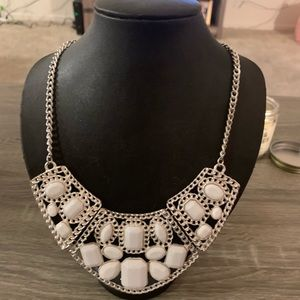 Beautiful white and silver statement necklace